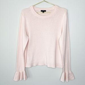 J. Crew Blush Pink Ribbed Bell Sleeve Knit Sweater